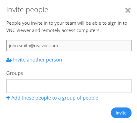 How do I invite people in to my team to share remote access